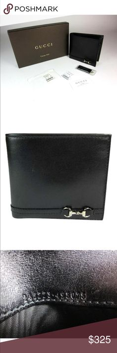 """Gucci unisex Wallet GUCCI Black, Leather, Folding Wallet accented by Silver Metal, Signature """"Horsebit"""" at front. Comes with Gucci Box and Contollato Card, no dust bag. Style/Serial # 245773.493075. Made in Italy 100% Authentic  never used but has hairline scuffs on leather. Finest Italian Calfskin Leather. Interior Compartments (8): Fold-Over Coin Pocket with Leather Lining; Twin, Full-Length, Bill Pockets; three (3) Card Slots; two (2) Side, Slip Pockets.  4 1/4"""" L closed; 8 1/2"""" - open )…"""