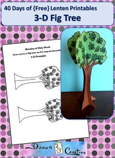 A printable 3D Fig Tree for Holy Week. Teach your kids about Jesus cursing the fig tree and then do this simple and fun craft.