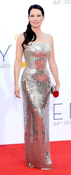 Lucy Liu in Versace at the Emmy Awards