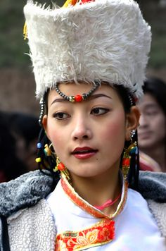 Portrait of a Quiang woman, one of the 56 ethnic minority group - China