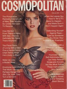 Brooke Shields by Scavullo for Cosmopolitan, February 1981. At age fifteen, Shields was the youngest model ever to grace the U.S. edition's cover.