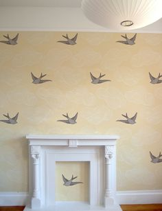 Hygge & West Bird Daydream Wallpaper...Would be adorable wallpaper for a nursery!