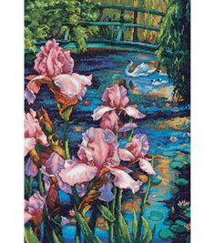 "Dimensions Gold Collection ""Iris And Swan"" Counted Cross Stitch Kit, x Cross Stitch Art, Cross Stitch Flowers, Counted Cross Stitch Patterns, Cross Stitch Designs, Cross Stitching, Cross Stitch Embroidery, Dimensions Cross Stitch, Felt Applique, Needlepoint"