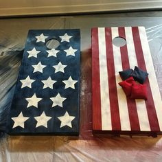 American flag cornhole boards  I painted these weathered cornhole boards to go for a rustic American flag look!