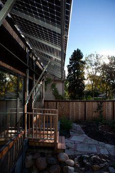 Solar panels as awnings.   www.OneRoofEnergy.com