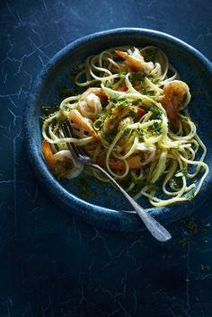 Linguine aux crevettes et au citron