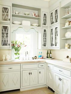 white kitchen - pretty cabinets!
