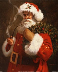 Santa Claus Paintings.  My best friend sent me a Christmas card like this.  Loved it!  Still have it!