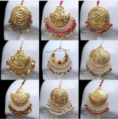 Tikka Jewelry, India Jewelry, Gold Jewellery, Nose Ring Jewelry, Head Jewelry, Indian Wedding Jewelry, Bridal Jewelry, Tikka Designs, Punjabi Traditional Jewellery