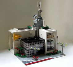 Marine Telecoms Office Building   by polarstein Glass Building, Lego Building, Building Ideas, Self Design, Make Design, Lego Space Station, Red Floor, Modern Glass, Legos