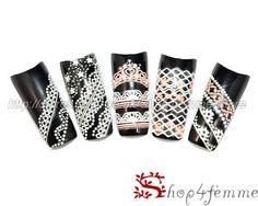 Black White Lace Style Nail Art Stickers Set 11 Pcs | eBay