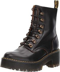 """Rubber sole, Made with Vintage Smooth, a retro version of signature smooth leather with subtle grained effect and contrast base color, Built on the rebelliously comfortable Dr. Martens Airwair air-cushioned sole, Sole is slip-resistant with superior abrasion, and is oil and fat resistant, too Classic Doc's DNA is in full effect, with visible stitching, grooved sides and a scripted heel-loop Platform height is 1.5"""", and heel height is 2"""" Jeep Renegade, Lady Bug, Ladybug And Cat Noir, Dr Shoes, Women's Motorcycle Boots, Vegan Shoes, Platform Boots, Doc Martens, Unisex"""