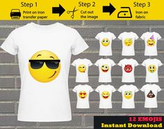 12 Pack Printable Emoji iron on transfers / Emoji iron on for shirts / Emoji Birthday / Party shirt Emoji Birthday Shirt, Emoji Shirt, Birthday Shirts, Iron On Transfer, Transfer Paper, Emoji Costume, Kiss Emoji, Image Paper, Emoji Faces