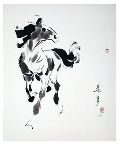 Chinese brush painting of a horse by Ning Yeh. He the fifth generation of brush painters in his family. I was able to take one of his classes at Goldenwest College Chinese Brush, Chinese Art, China Painting, Painting Prints, Japanese Art Styles, Paint Brush Art, Traditional Paintings, Art For Art Sake, Ink Illustrations