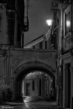 Nightscape at Kokkinis Αrch - Nightscape at Kokkinis Αrch Old town of Corfu Corfu Greece, Famous Photographers, Old Town, Past, Black And White, Old City, Past Tense, Black N White, Black White