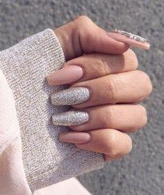 Glitter Pink Matte Nails