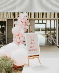 Fun-Fueled Modern Wedding with Pops of Red + Balloons Galore - Green Wedding Shoes Wedding Welcome Signs, Wedding Signs, Wedding Ideas, Welcome Party, Balloons Galore, Balloon Installation, Red Balloon, Balloon Arch, Balloon Ideas