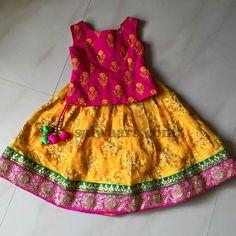 Mustard Floral Skirt Work Blouse - Indian Dresses