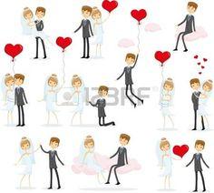 Conjunto de fotograf�as de la boda, la novia y el novio en el amor photo