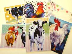 ACEO White Rooster Painting Chicken Art by JemmasGems on Etsy