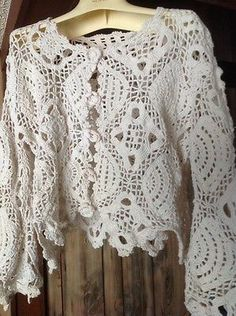 Beautiful Handmade Crochet Blouse Top Coverlet Shirt Vest Sweater