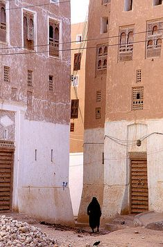 Architecture Buildings in Shibam Yemen - a city of high rise mudbrick buildings dating from the 16th century.