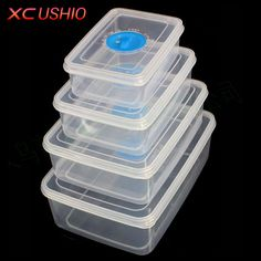 Food Storage Microwave Boxes Set Lunch Rectangle Box Safe Plastic Container Kit #FoodStorage