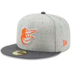 6ebdfe59e3685 Men s Baltimore Orioles New Era Heathered Gray Graphite Action 59FIFTY  Fitted Hat