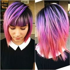 Bright hair color, great streaks of purple pink and orange Love Hair, Gorgeous Hair, Coiffure Hair, Bright Hair, Colorful Hair, Multicolored Hair, Dye My Hair, Cool Hair Color, Hair Colors