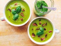 Pesto and Bacon Acorn Squash Soup