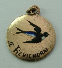 "Edwardian Brass & Enamel Swallow Charm - ""Je reviendrai"" (I will be back..) a delight to shop to Sandy's vintage charms !!"