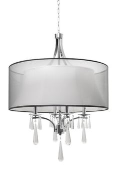 302014 – Four Lamp Chandelier with Inner and Outer Organza Shades and Clear Crys Kuzco