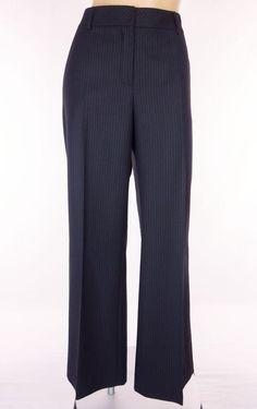 AKRIS PUNTO Dress Pants Size 6 S Small Navy Blue Pinstripe Wool Work Slacks #Akris #DressPants
