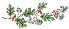 Pine Needles & Pinecones Stencil with Oak Leaves & Acorns - Large