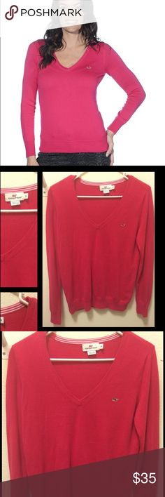Vineyard Vines lighthouse v neck sweater Excellent condition, gently loved in lipstick pink 100% Pima cotton Machine wash Imported Stripe inside neck trim Embroidered whale at hem Vineyard Vines Sweaters Crew & Scoop Necks