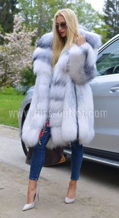 NEW 2017 ARCTIC ROYAL FOX FUR COAT CLAS CHINCHILLA SABLE MINK SILVER LONG JACKET Vest Coat, Fur Jacket, Long Fur Coat, Fur Coats, Chinchilla Coat, Coats For Women, Clothes For Women, Fur Clothing, Fabulous Furs