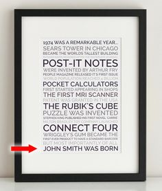 40th birthday poster gag gift - personalize and print