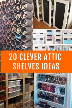 Attics don't need to be filthy storage. These clever best attic shelves ideas can help convert your attic into a place of organized storage. Attic shelves allows to do awesome things in attic like using pipes to make shoe shelves, transparent containers to make organized storage for small items and there's more. #atticshelves #atticshelvesideas #atticideas #attic