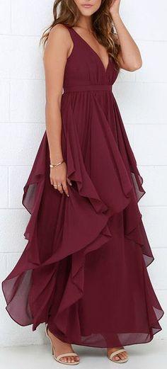 Burgundy Chiffon Gown ❤︎