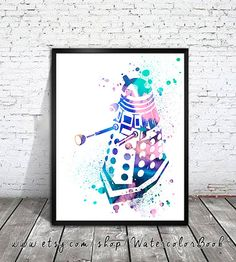 Doctor Who Dalek Watercolour Painting Print, watercolor painting, watercolor art, Illustration, Doctor Who Tardis poster, Doctor art