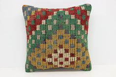 Turkish Kilim pillow cover 16x16 inches Handmade by stripepattern