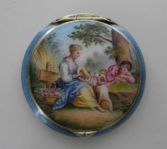 Antique Sterling Guilloche Enamel Compact w/ Pastoral Scene Girl, Boy & Dog