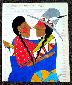 """Pepion Ledger Art - """"The Embrace"""" 2013 You can find this talented artist on Fb!"""