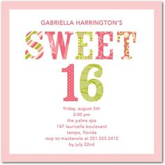 Birthday Party Invitations Sweet Sixteen - Front : Soft Pink