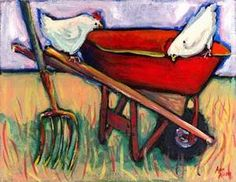 so much depends  upon  a red wheel  barrow    glazed with rain  water    beside the white  chickens.    William Carlos Williams