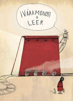 Venga… todos a subir al tren de la lectura! (ilustración de Alex Herrerías)