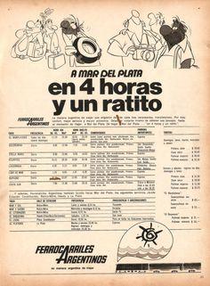 A Mar del Plata en 4 horas y un ratito... FERROCARRILES ARGENTINOS, década del 70.