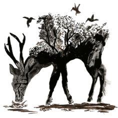 Alam sekilas pintas di dalam rusa dan dikelilingi burung yang tertarik dengan pepohonan. Hutan yang mulai kering dan meranggas, meski sesungguhnya sangat dibutuhkan oleh hewan, mengingatkan akan perlunya reboisasi dan pelestarian satwa liar. Digambar dengan menggunakan chinese ink diatas kertas gambar #burung #alam #chineseink #ink #rusa #hutan #Kaos #Desain #Baju #Design #TShirt #Tees #Rupawa #Animal #Siluet