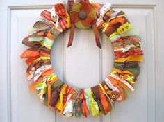 Fall Wreaths - Ribbon Fabric Wreath - Thanksgiving Decor - Front Door Wreath for Fall Decor - Autumn Wreaths by AWorkofHeartSA, $65.00