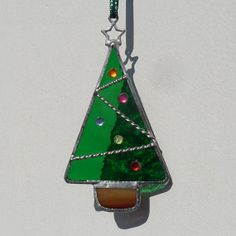 Mini Decorated Christmas Tree, Stained Glass Christmas Tree Decoration - £6.50